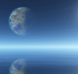 Terraformed Moon over water surface