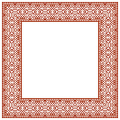 Square frame with ethnic elements.