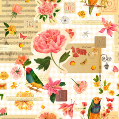 Seamless vintage collage with many different illustrations and stamps