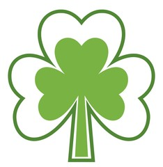 Shamrock icon. Four leaf clover. Abstract tree. Isolated