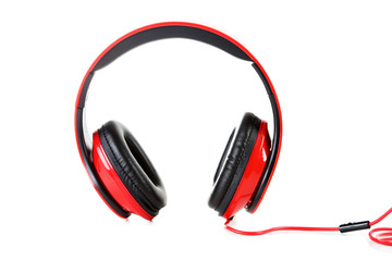 Headphones isolated on a white, close up