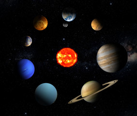 Fototapete - The sun and eight planets of our system orbiting
