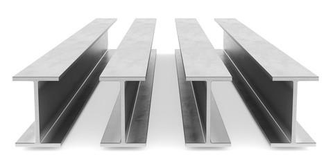 Steel I-beam. Flange beam on white background. 3D rendering Wall mural