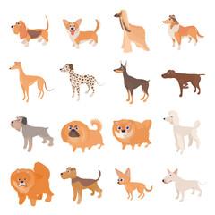 Dog icons set, cartoon style