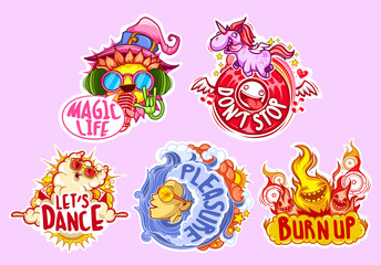 These stickers crazy, funny and carry the magical energy party