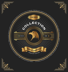 Vintage gold series CD Cover template design. Circle frame design with the eagle and ribbon. Vector illustration