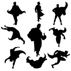 Superhero silhouettes set