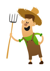 cartoon character cheerful farmer with a pitchfork