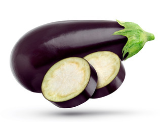 One eggplant isolated on white background, with clipping path