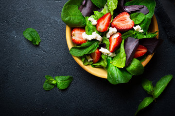 Vegetable salad with strawberry