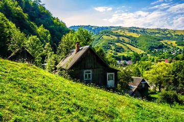 village on a mountain  slopes