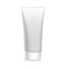 Realistic plastic tube on white background. Vector illustration template ready for your desing. It can be use for presentation cosmetic cream or toothpaste, promo, adv and etc.