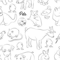 Animals pets vector pattern