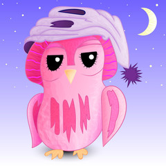 Sleepy owl in a cap