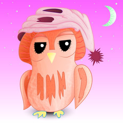 Sleepy owl in a cap 1