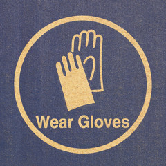 Paper texture with wearing gloves sign