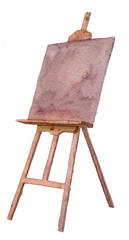 watercolor sketch: an easel on a white background