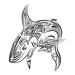 Big aggressive shark, hand drawing zentangle stile.