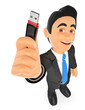 3D Businessman with a pen drive. USB stick