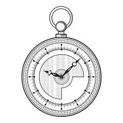 Pocket watch isolated on white background, vintage vector illustration