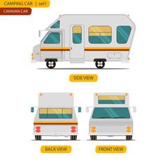 Car set for camping caravan with three views