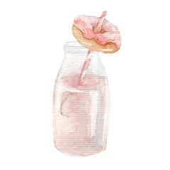 watercolor mini donut with strawberry milkshake hand drawn