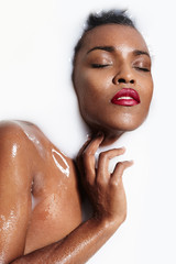 woman's portrait in a milk bath