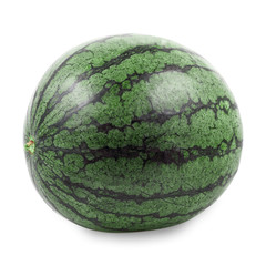 One green circle watermelon isolated on white