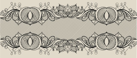 Abstract vector  lace ribbon seamless pattern with elements flowers. Lace Doily. Can be used for packaging, invitations, and template.Vector lace ornament