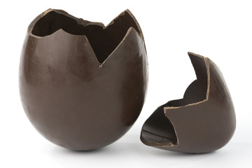 broken easter chocolate egg
