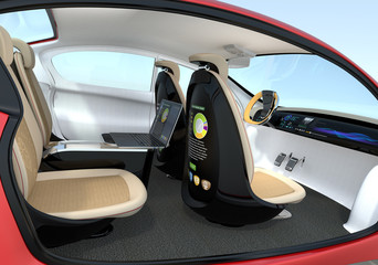 Autonomous car interior concept. Backrest equip with LCD monitor that showing  business document, Concept for new business work style in future. 3D rendering image.