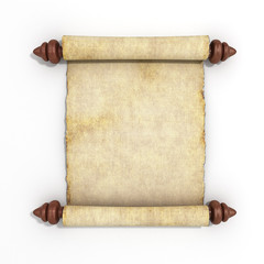 old papyrus scroll isolated on white background 3d render