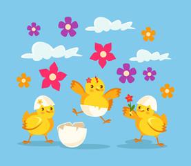 Cute cartoon baby chicken. Vector flat illustration
