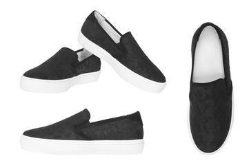 stylish black female shoes isolated on white