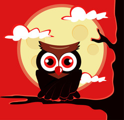 Owl sitting on tree. Vector flat cartoon illustration