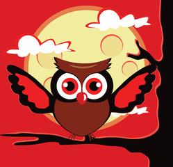 Owl sitting on tree with open wings. Vector flat cartoon illustration