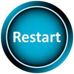 Icon white blue word restart
