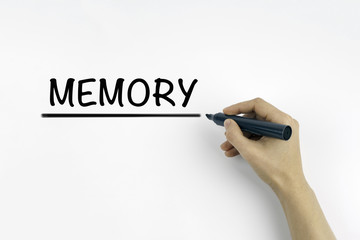 Hand with marker writing: MEMORY