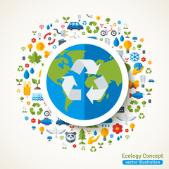 Earth with recycling symbol flat sticker