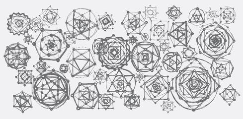 Sacred geometry mandalas background. Sacred symbols. Mandalas set. Gray color.