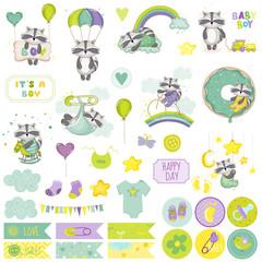Baby Boy Raccoon Scrapbook Set. Vector Scrapbooking. Decorative Elements