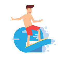 Happy Man Surfing on Wave in Flat