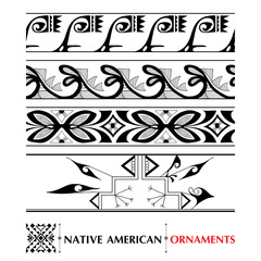Vector collection with Native American seamless pattern isolated on white background. Ethnic ornaments and borders. Set of ancient American decor. Tribal elements in contour style for native design.