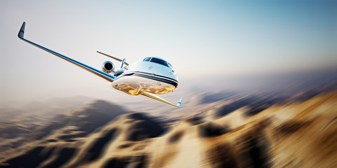 Photo of white Business generic design Private jet flying in blue sky at sunrise.Uninhabited desert mountains background.Luxury travel picture. Horizontal,motion blurred effect. 3d rendering