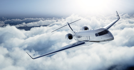 Realistic photo of White Luxury generic design private jet flying over the earth. Empty blue sky with white clouds at background. Business Travel Concept. Horizontal. 3d rendering Wall mural
