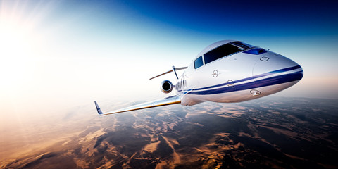 Realistic photo of white generic design private Jet flying over the mountains. Empty blue sky with sun at background.Business Travel by modern Luxury Plane.Horizontal.Closeup image. 3d rendering