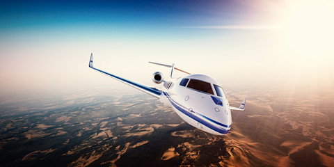 Realistic photo of white generic design private Jet flying over the mountains. Empty blue sky with sun at background.Business Travel by modern Luxury Plane.Horizontal.Closeup picture. 3d rendering