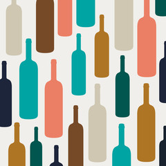 Vector Illustration of an Abstract Background with Wine Bottles