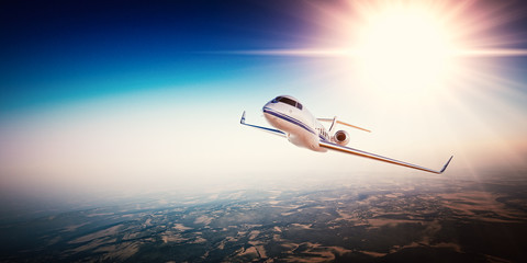 Realistic photo of white generic design private Jet flying over the mountains. Empty blue sky with sun at background.Business Travel by modern Luxury Plane.Horizontal.Closeup photo. 3d rendering