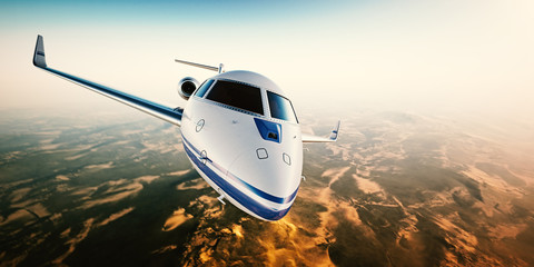 Realistic photo of silver generic design private Jet flying over the mountains. Empty blue sky with sun at background.Business Travel by modern Luxury aircraft. Horizontal.Closeup photo. 3d rendering